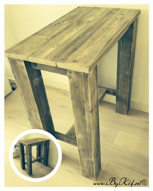 kleine tafel steigerhout
