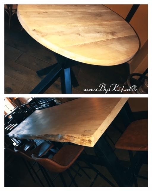 robuuste tafels met boomstamblad