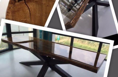 industiele tafel met epoxyblad